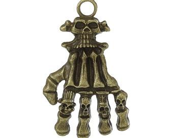 2pc antique bronze finish metal skull pendants-9848