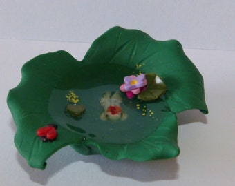 Whimsical terrarium garden fairy fish pond handmade for fairy garden Miniature