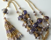 Purple Lampwork Necklace, Extra Long Gold Beaded Necklace, Lavender, Plum, Grape, Gold Chain, Crystals, Beaded Jewelry, OOAK...Wisteria