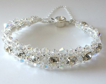 Crystal Rhinestone Bracelet, Clear AB Crystals, Bridal Jewelry, Bride, Wedding, Beaded Jewelry, Beaded Bracelet, Crystal Tennis Bracelet