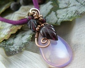 Rose Quartz Pink Opalite Teardrop and Garnet Leaf Wire Wrapped Pendant