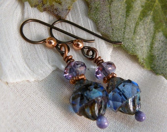 Blue Dangle Earrings ~ Purple Dangle Earrings ~ Blue Earrrings ~ Purple Bead Earrings ~ Czech Glass Earrings ~ Copper Earrings ~Niobium Wire
