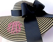 Monogrammed Black and Natural Stripe Floppy Hat Wide Brimmed for Wedding, Bridesmaid, Sun, Beach or Just Looking Fabulous