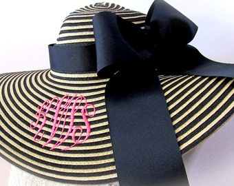 Monogrammed Black and Natural Stripe Floppy Hat Wide Brimmed for Wedding, Bridesmaid, Sun, Beach or Just Looking Fabulous LAST ONE!