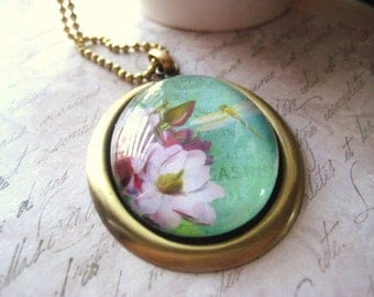 Floral Necklace, Cameo Necklace, Dragonfly pendant, Brass oval pendant, Fushia flower, Pink Flowers, Brass faceted chain womens jewelry
