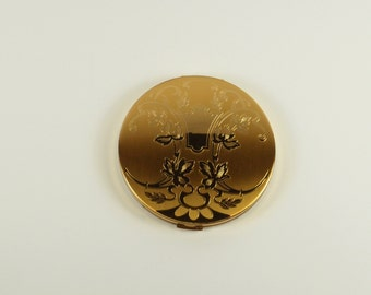 ON SALE! Vintage Elgin American Gold  Ornate Powder Compact with Original Box Insert Purple Pouch