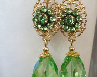 Faceted Green Crystal Teardrop Earrings with Filigree and Green Crystal Flowers