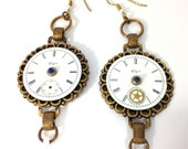 Watch Dial Earrings , Steampunk Watch Dial Earrings,   Steampunk Earrings One of a Kind