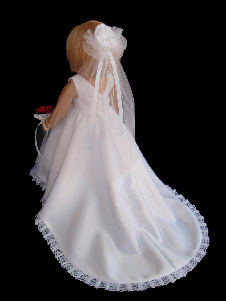 American girl doll clothes satin princess wedding gown dress for American girl wedding dress