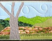 Fabric Postcard, Mountain Landscape, Quilted Postcard,  Big Tree and a Rock Wall,Greeting Card,Landscape Fabric Postcard, Mountain Postcard