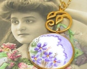 Violets, Antique BUTTON necklace, Edwardian flowers on gold chain, one of a kind jewellery.