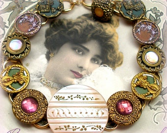 Antique BUTTONs gold bracelet, Victorian mother-of-pearl with flowers in pink & green.