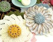 Cotton Wash Cloths - Set of Three Handknit Wash Cloths, Scrubbie, Soap Holder - Choice of Seasonal Colors