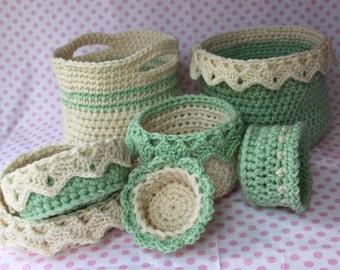 Ebook Crochet Basket Pattern - Drop Over Lace Edge - Eyelet Edge - Large Basket with Handles - Bridal Baby Gift