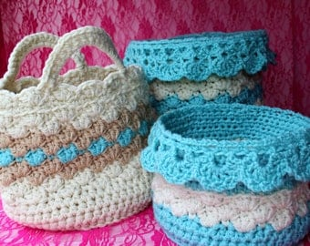 Ebook - Large Crochet Basket Patterns - Drop Over Lace Edge - Storage Organizing Containers - Great Gift Idea