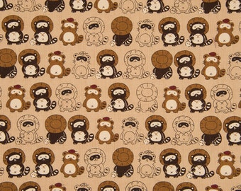 HALF YARD Tanuki on BEIGE - Japanese Raccoon dog, Trickster - Cosmo Textile Japanese Import Fabric - Traditional Print
