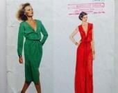 Vogue Paris Original Sewing Pattern 1660 Vintage 70s Christian Dior Dress Blouson Bodice Deep V Neckline Maxi Midi 32.5 Bust