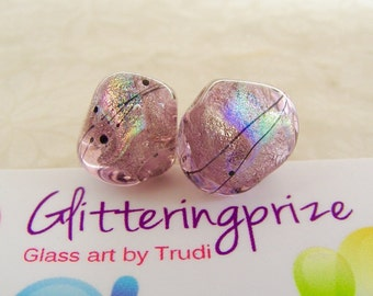 Lampwork Beads Ice Pink Rainbow Nuggets