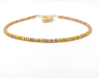 24K Rose Gold Glass Bead Bracelet, Beaded Bracelet, Seed Bead Bracelet, Gold Glass Bead Bracelet, Rose Gold, Thin Bracelet, 14K Gold Fill