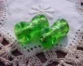 Lime Green Foil Twists Vintage Glass Beads