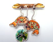 Koi Pond Brooch-Fish-Lily Pad-Keumbo-Cloisonne-Art Jewelry-Modern Cameo