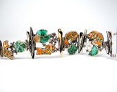 Statement Art Bracelet with Koi Fish, Lily Pads and Lotus Flowers