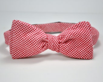 Men's Bow Tie, Freestyle Bowtie, Red Houndstooth Bow Tie, Flannel Bow Tie, Christmas Men's Bowtie