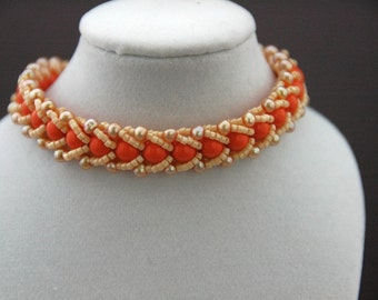 Orange Coral Swarovski Pearls and Ivory Delicas Flat Spiral Bracelet