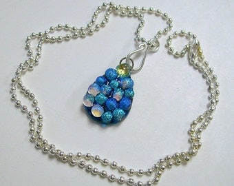 Fused Glass Dichroic Tear Drop Pendant/ necklace (Turquoise)