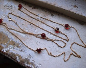 FREE SHIPPING Vintage Goldtone Chain Necklace with Red Glass Accent Beads