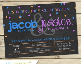 Joint Combined Birthday Party Invitation - Twin Birthday Invitation- Printable Invitation - Custom Colors