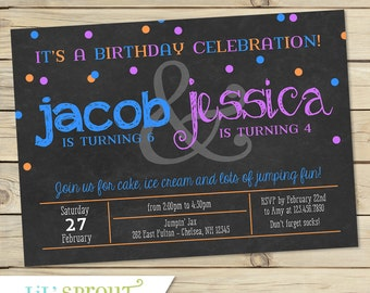 Joint Combined Birthday Party Invitation - Twin Birthday Invitation- Printable Invitation - Custom Colors - chalkboard style -Print Your Own