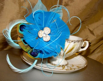 Teal Blue Peacock Feather and Sparkling Rhinestone Flower Hairpin Bridal Wedding Hair Clip