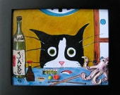 Funny Cat Art -  Tuxedo Cat at the Sushi Bar - Framed Canvas Print with Polymer Clay - Cat Gift