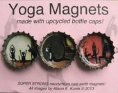 Funny Yoga Cat Magnets - Yoga Cats Art  - Funny Cats Doing Yoga - Bottle Cap Magnets - Set of 3 - Gift for Cat Love -Yoga Gift
