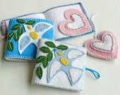 DIY Holiday Gift - Dove with Olive Branch Needle Book and Heart Felt Ornament - PDF Pattern - Handmade Project