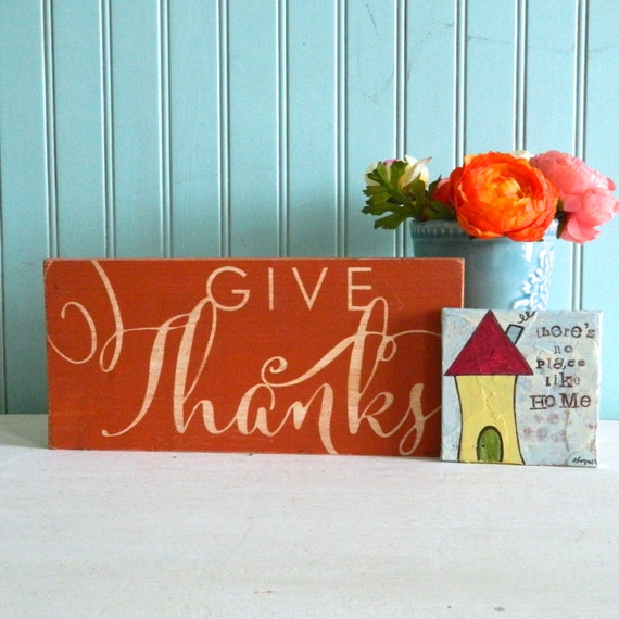 Rustic Thanksgiving sign. Give thanks. Distressed wood sign.  Rustic Sign. Christian Decor. Thankfulness sign. thankful sign.