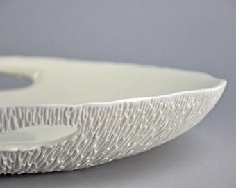 DISCOUNTED - Extra Large Geode Serving Platter with Handles - Porcelain Serving Bowl