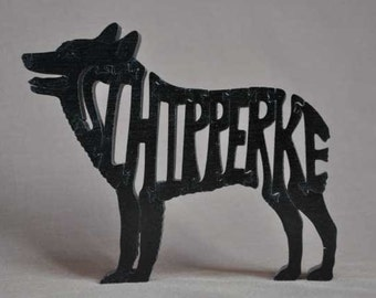 Schipperke Dog Puzzle Wooden Toy Hand Cut with Scroll Saw