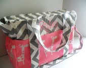 Personalized Extra Large Chevron Diaper bag Made of Pink and White Giraffe Fabric  - Zipper Closure - Diaper Bag - Chevron Diaper Bag - Pink