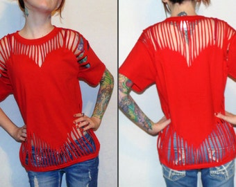 red heart cut out fringe t