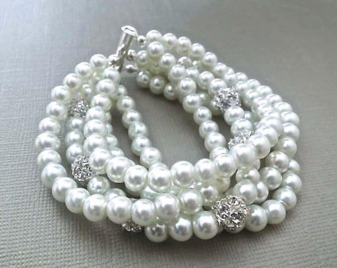 Gatsby Inspired Pearl Rhinestone Cuff Bracelet 5 Strands
