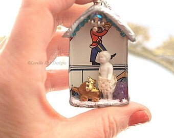 Play Time Frozen Charlotte Dollhouse Necklace Soldered House Mixed Media Shadowbox Pendant or Ornament