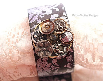 Antique Button Cuff Stamped Leather Unique Button Jewelry Bracelet Modern Look One of a kind