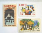 California Wedding Postage Stamps, Love Doves Flower Basket Stamp, Mission Bell Stamp, Mail 20 Invitations 2 oz, 71 cents postage stamps