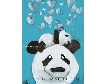 Baby Panda Art. Baby Shower Gift. Baby Panda and Parent blowing Bubbles. Children Illustration. Kids Art Print. - Panda Baby Bubbles