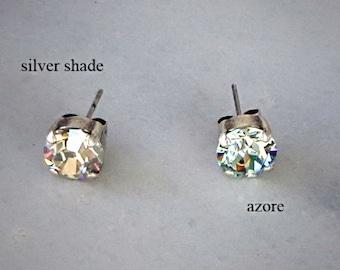 Swarovski Crystal  8mm stud fancy stone earrings antique silver plated,choose among 8 colours,-KONPLOTT inspired