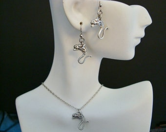 """Jewelry Set, Creature Necklace Earring Set, Your Choice Bronze Or Silver Ox, Unique and Cute, Chain Length 16"""" or 18"""", Handmade, Original"""