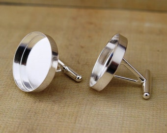Sterling Silver Cufflink Findings with Round Bezel -Pair