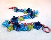 Flower Charm Bracelet, Blue Blossoms and Berries, Copper Beaded Bracelet, FREE Shipping U.S.